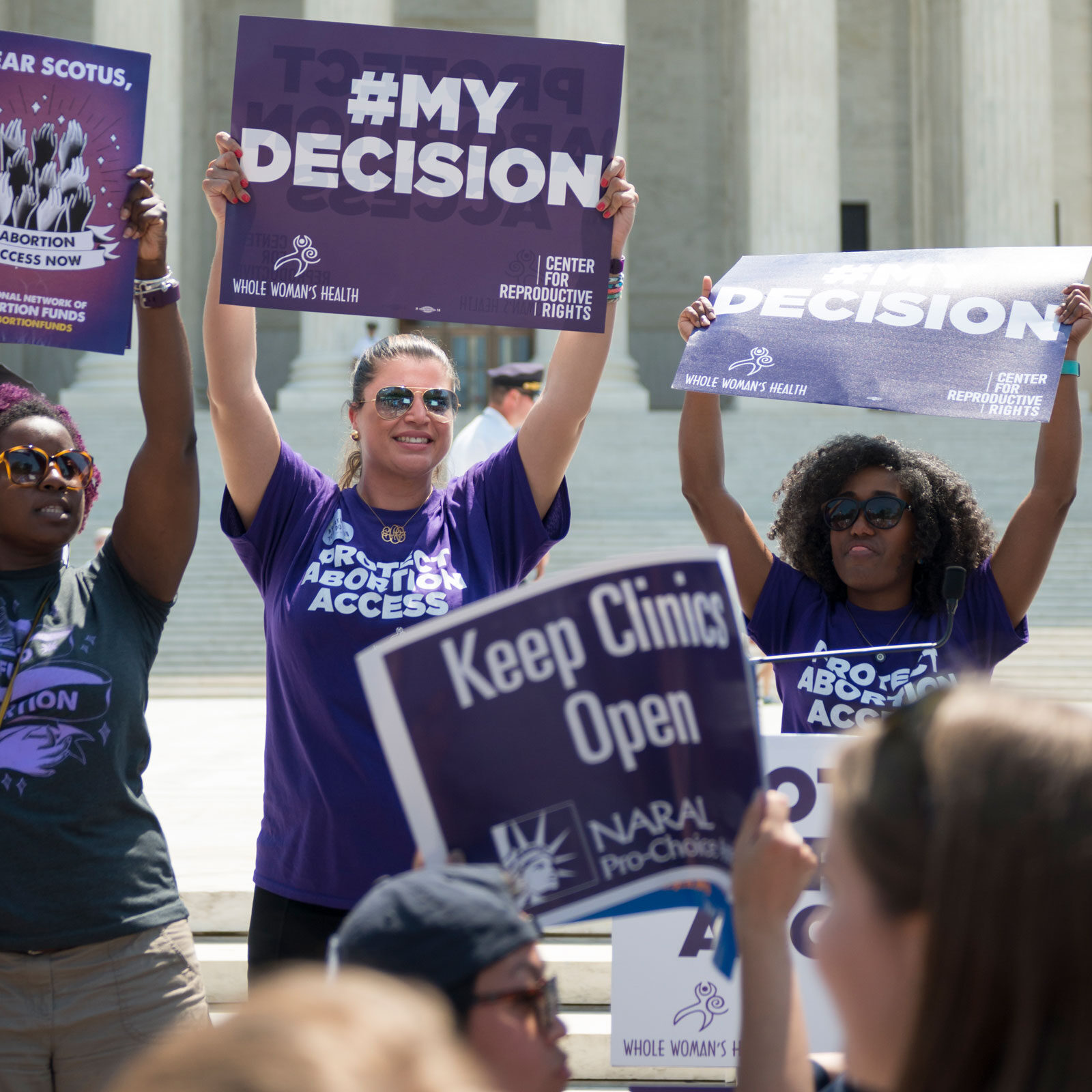 group of pro-choice protestors in front of the Supreme Court